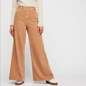 Free People Women's Brown High Waist Wide Leg Jean